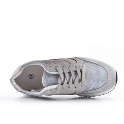 Basket grise bi-matière à lacet