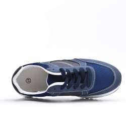 Basket bleu bi-matières à lacet