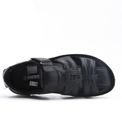 Sandalia de hombre negro en imitación de cuero