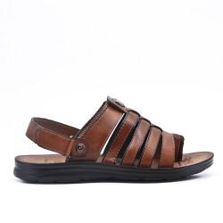 Sandale homme marron à semelle confort