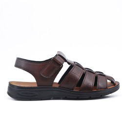 Brown man sandal in faux leather