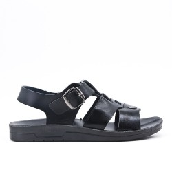 Sandale homme noire en simili cuir à boucle