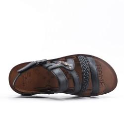 Sandalia de hombre negro con bridas