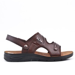 Sandale homme marron en simili cuir