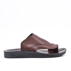 Men's brown leather mule