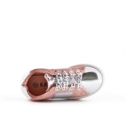 Basket fille rose à bande élastique