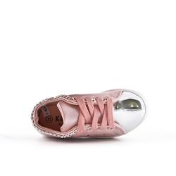 Basket fille rose à lacet