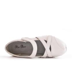 Chaussure confort blanc en simili cuir