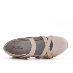 Beige comfort shoe in faux leather