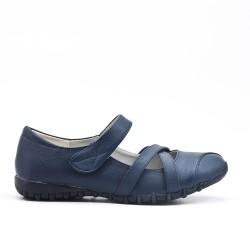 Ballerine confort bleu en simili cuir