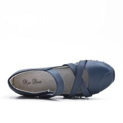 Chaussure confort bleu en simili cuir