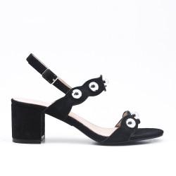 Sandale noire à perle