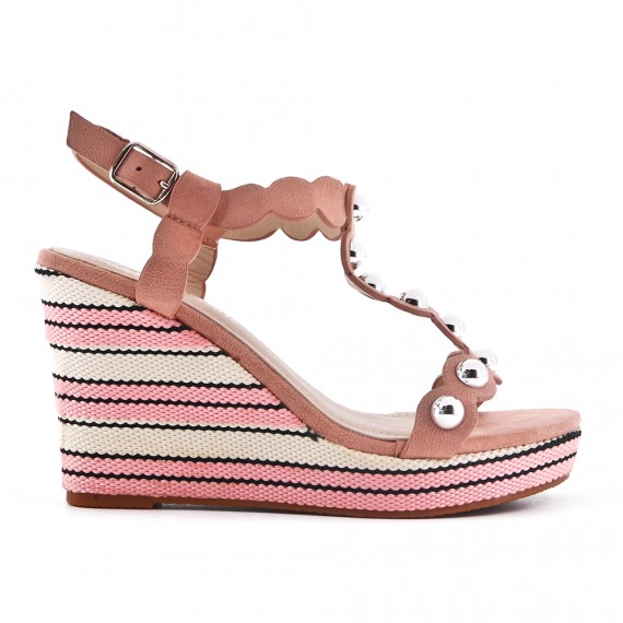 7a7a7d3b83 Pink faux suede sandal with wedge heel