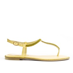 Yellow flat sandal with rhinestones