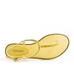 Sandale tong plate jaune orné de strass
