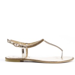 Golden flat sandal with rhinestones
