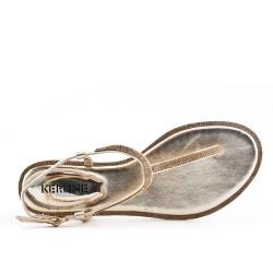 Sandale tong plate dorée orné de strass