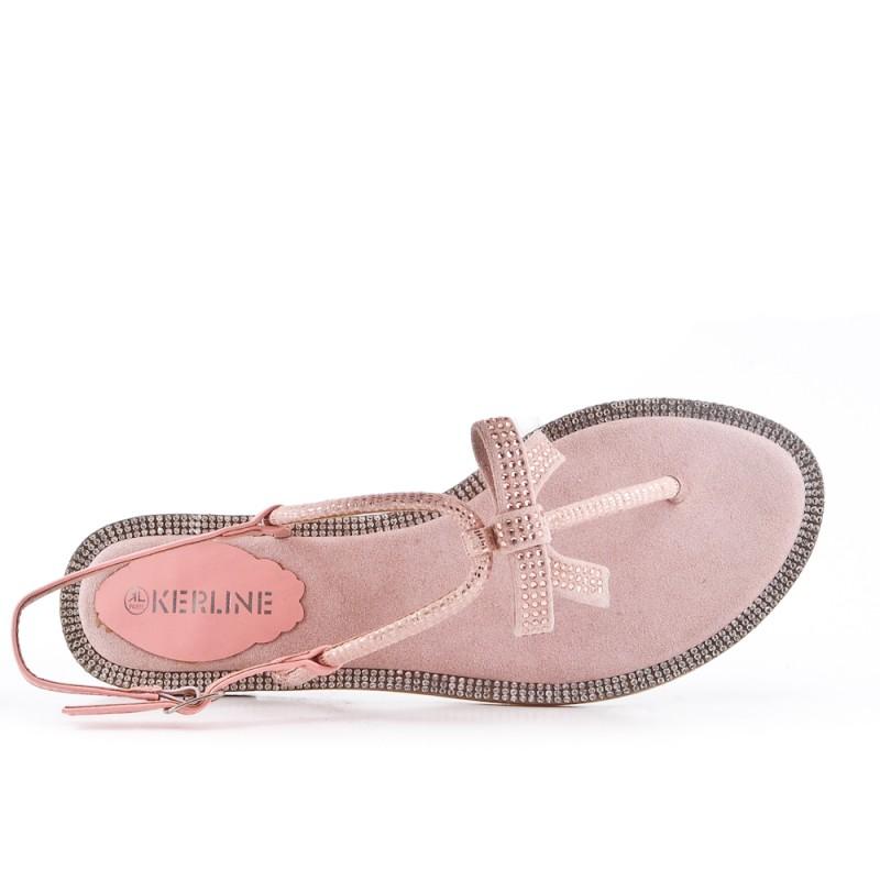 pas cher pour réduction 744e5 13a92 Sandale plate rose à nœud