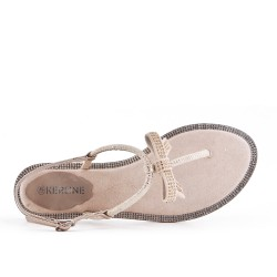 Beige flat sandal with bow