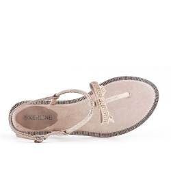 Sandale plate beige à nœud
