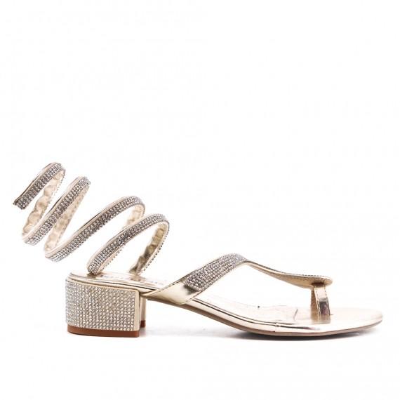 Rhinestones With Sandal Golden In Heel k80wPONnXZ