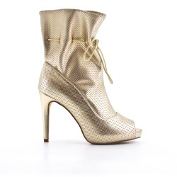 Golden ankle boot with open toe