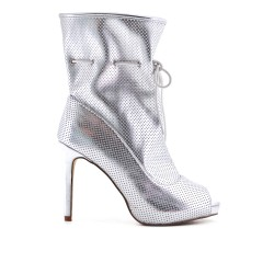 Silver ankle boot with open toe