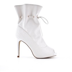 White ankle boot with open toe