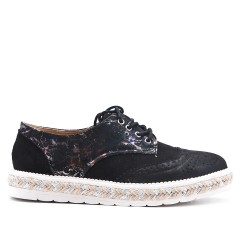 Black Derby Lace Detail Floral Print