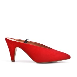 Escarpin rouge en simili daim à talon