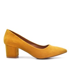 Yellow suede faux suede pumps