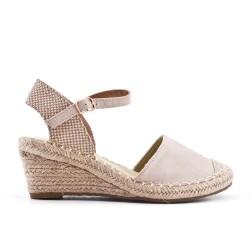 Sandale compensée beige en simili daim