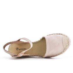 Sandalia cuña gamuza beige