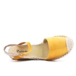 Yellow wedge sandal with pompom lace