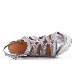 Sandale compensée argent