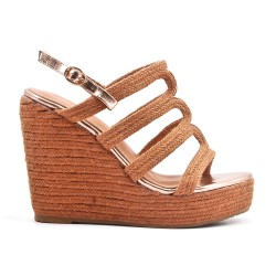 Camel wedge sandal