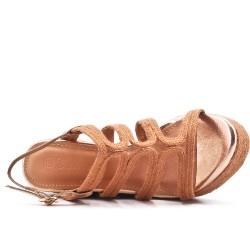 Sandale compensée camel