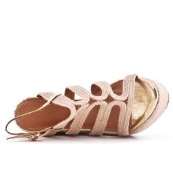 Sandale compensée beige