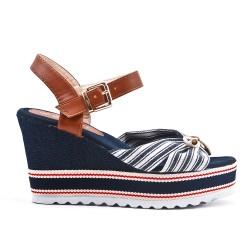 Sandale compensée en toile bleu