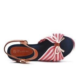 Sandale compensée en toile rose