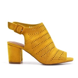 Yellow open ankle boot in faux suede