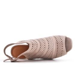 Bota de tobillo abierto Beige sintético