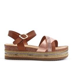 Sandale camel en simili cuir avec plateforme