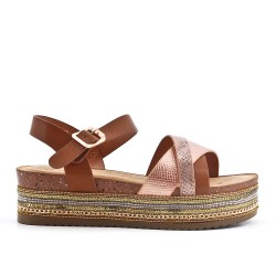Camel faux leather sandal with platform