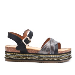 Black imitation leather sandal with platform