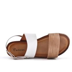 Sandale blanche en simili cuir avec plateforme