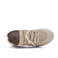 Basket beige en tissus extensible à lacet