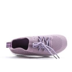 Basket violette en tissus extensible à lacet