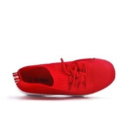 Basket rouge en tissus extensible à lacet