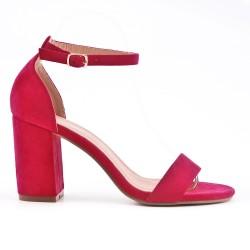 Sandale fushia en simili daim à talon